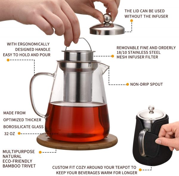 Hiware 32oz Stovetop Safe Glass Teapot